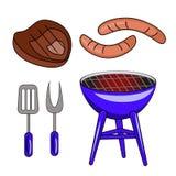 Insieme delle illustrazioni del barbecue di vettore isolate su backgroun bianco royalty illustrazione gratis