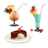 Insieme delle illustrazioni del dessert Fotografie Stock