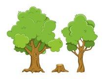 Insieme delle illustrazioni dell'albero e del ceppo del fumetto isolate su w Immagini Stock Libere da Diritti