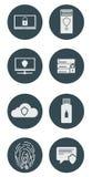 Insieme delle illustrazioni dell'icona Crittografia e protezione di dati dall'incisione Illustrazione di vettore Fotografia Stock Libera da Diritti