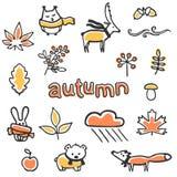 Insieme delle illustrazioni di autunno Animali e piante di vettore Immagini Stock Libere da Diritti