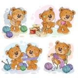 Insieme delle illustrazioni di clipart di vettore degli orsacchiotti e del loro hobby della domestica della mano Fotografia Stock