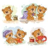 Insieme delle illustrazioni di clipart di vettore degli orsacchiotti e del loro hobby della domestica della mano Immagini Stock Libere da Diritti