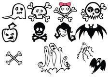 Insieme delle illustrazioni di Halloween Fotografia Stock