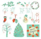 Insieme delle illustrazioni di Natale, icone Fotografia Stock