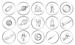 Insieme delle illustrazioni di vettore degli oggetti dello spazio Immagine Stock