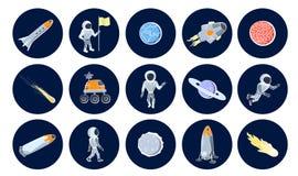 Insieme delle illustrazioni di vettore degli oggetti dello spazio Fotografia Stock Libera da Diritti