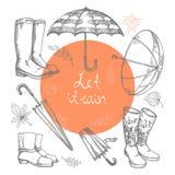 Insieme delle illustrazioni di vettore degli ombrelli disegnati a mano, degli stivali di gomma e delle foglie di autunno Fotografia Stock