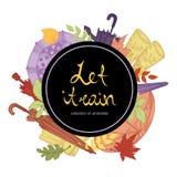 Insieme delle illustrazioni di vettore degli ombrelli disegnati a mano, degli stivali di gomma e delle foglie di autunno Fotografie Stock