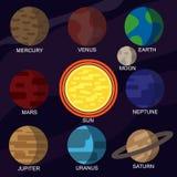 Insieme delle illustrazioni di vettore dei pianeti del sistema solare Fotografie Stock Libere da Diritti