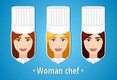 Insieme delle illustrazioni di vettore di un cuoco unico della donna Cuoco unico della donna Il fronte della ragazza icona Icona  Fotografia Stock Libera da Diritti