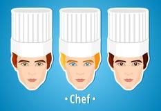 Insieme delle illustrazioni di vettore di un cuoco unico maschio Uomo Il fronte dei mans icona Icona piana minimalism Fotografia Stock