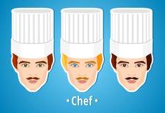 Insieme delle illustrazioni di vettore di un cuoco unico maschio Uomo Il fronte dei mans icona Icona piana minimalism L'uomo stil Fotografie Stock Libere da Diritti