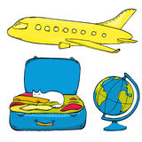 Insieme delle illustrazioni di viaggio: aeroplano giallo Fotografie Stock Libere da Diritti