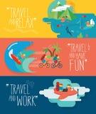 Insieme delle illustrazioni di viaggio Tipi differenti di viaggi royalty illustrazione gratis