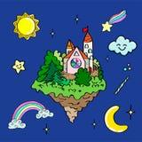 Insieme delle illustrazioni disegnate a mano degli attributi magici differenti Illustrazione isolata vettore Fotografia Stock Libera da Diritti
