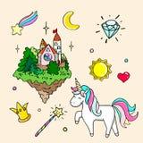 Insieme delle illustrazioni disegnate a mano di un unicorno magico e degli attributi differenti Illustrazione isolata vettore Fotografie Stock