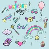 Insieme delle illustrazioni disegnate a mano di una bacchetta magica, del diamante, dell'arcobaleno e di altri attributi magici U Fotografie Stock Libere da Diritti