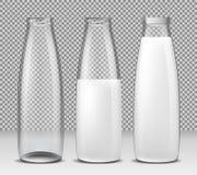 Insieme delle illustrazioni isolate, delle icone, delle bottiglie di vetro per latte e dei prodotti lattier-caseario Fotografia Stock