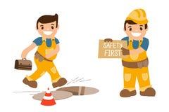 Insieme delle illustrazioni - l'incidente sul lavoro danneggia Cadendo nella botola aperta Immagini Stock Libere da Diritti