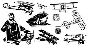 Insieme delle illustrazioni Nieuport-17 Pilota francese della prima guerra mondiale contro lo sfondo del biplano Nieuport-17 illustrazione vettoriale