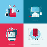 Insieme delle illustrazioni piane di concetto di progetto di vettore Immagine Stock