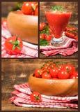 Insieme delle immagini con i pomodori ciliegia Immagine Stock Libera da Diritti