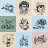 Insieme delle immagini con le creature fantastiche dipinte Immagini Stock