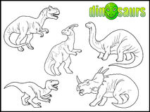 Insieme delle immagini degli animali preistorici Fotografia Stock