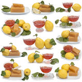 Insieme delle immagini dei dessert della cotogna Fotografia Stock Libera da Diritti