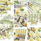 Insieme delle immagini dei soldi, di nuove banconote collage del dollaro e della raccolta Immagini Stock Libere da Diritti