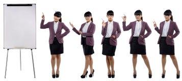 Insieme delle immagini di giovane donna attraente di affari che sta con la a Immagine Stock