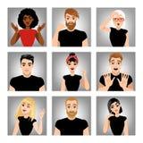 Insieme delle immagini di vettore della gente con differenti emozioni gestures Immagini Stock