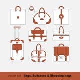 Insieme delle immagini di vettore delle borse, sacchetti della spesa, Immagine Stock