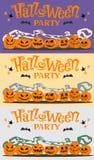 Insieme delle immagini, partito di Halloween delle cartoline con le zucche del fumetto, pipistrelli, stelle Fotografia Stock