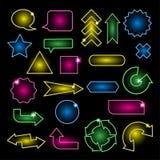 Insieme delle insegne al neon e delle frecce Immagine Stock Libera da Diritti