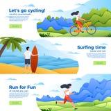 Insieme delle insegne - bici di vettore, praticante il surfing e corrente Immagine Stock