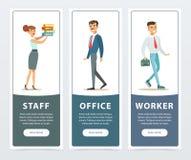 Insieme delle insegne con i caratteri degli impiegati di concetto in abbigliamento convenzionale Cartelle della tenuta della raga illustrazione di stock
