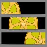 Insieme delle insegne con il limone di scarabocchio Fotografie Stock