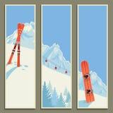 Insieme delle insegne con il retro paesaggio di inverno, illustrazione, eps10 Fotografie Stock Libere da Diritti