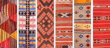 Insieme delle insegne con le strutture dei tappeti tradizionali della lana di berbero Fotografia Stock