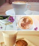 Insieme delle insegne del caffè del cappuccino Immagini Stock Libere da Diritti