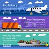 Insieme delle insegne del trasporto nella progettazione piana di stile Illustrazione di vettore di concetto di consegna e di logi Fotografia Stock