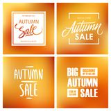 Insieme delle insegne di Autumn Sale con iscrizione Ambiti di provenienza vaghi di offerta speciale per acquisto stagionale Fotografia Stock