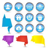Insieme delle insegne di origami con le icone di web Immagini Stock