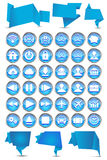 Insieme delle insegne di origami con le icone di web Immagini Stock Libere da Diritti