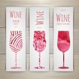Insieme delle insegne e delle etichette del vino di arte illustrazione vettoriale