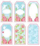 Insieme delle insegne e delle etichette di festa nei colori rosa e blu con w Fotografie Stock