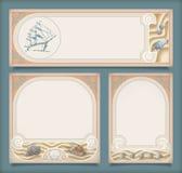 Insieme delle insegne della struttura di vacanza dell'annata del mare, etichette Immagini Stock