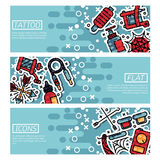 Insieme delle insegne orizzontali circa il tatuaggio illustrazione vettoriale